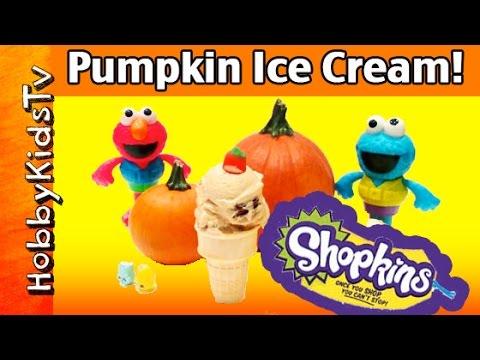 Cookie Monster + HOMEMADE Pumpkin Ice Cream! Surprise SHOPKINS by HobbyMema HobbyKidsTV