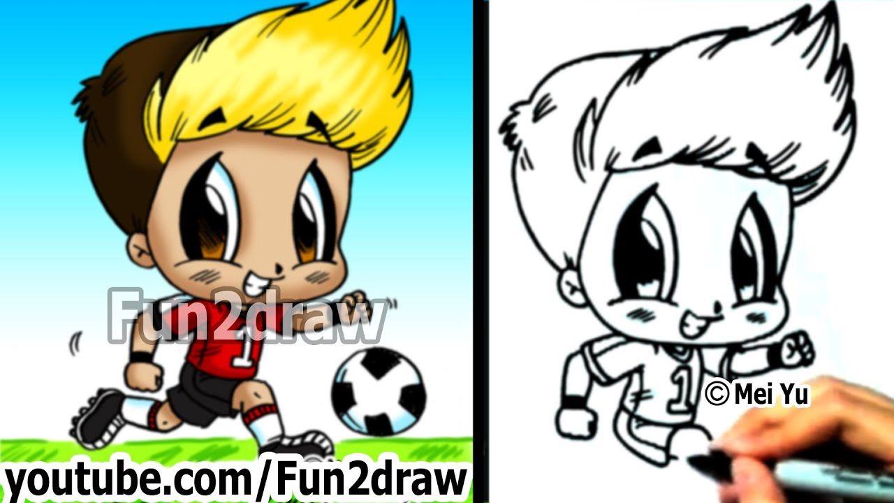 Boy Playing Soccer Drawing to Draw a Soccer Player