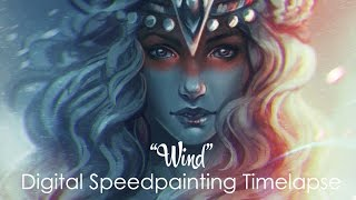 Digital Time lapse  Speed Painting Process with Adobe Photoshop. Wind, by Bea González