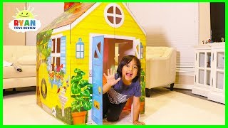 Ryan Pretend Play with  PlayHouse and Hides from Emma and Kate