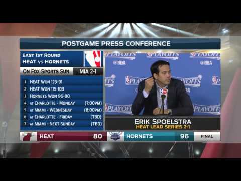 Erik Spoelstra -- Miami Heat at Charlotte Hornets Game 3 04/23/2016
