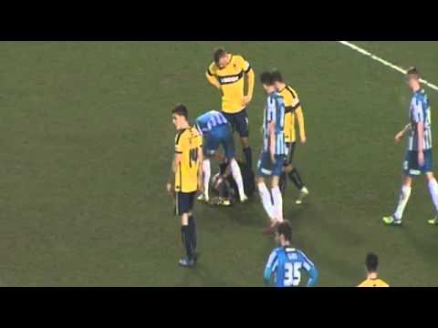 Hartlepool's Scott Harrison Uses Magic Spray On Injured Referee