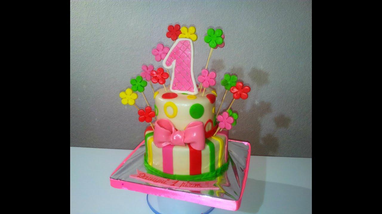 Торт двухъярусный на годик своими руками