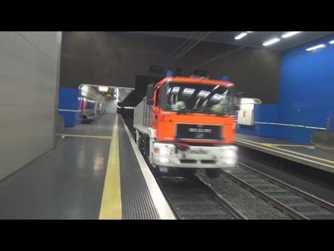 RW-Schiene BF Bonn FW 1 Alarmfahrt aufgegleist im U-Bahntunnel