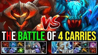 THE BATTLE OF 4 HARD CARRIES [Weaver Zeus] Vs [Chaos Knight Tinker] Max Items Fight - DotA 2