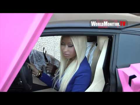 Nicki Minaj shows off All Pink Lamborghini during launch of her Collection at Kmart