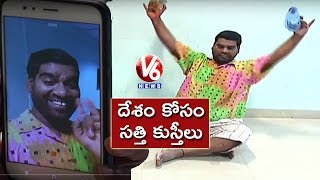 Bithiri Sathi Accepts Rajyavardhan Rathore's Fit India Challenge | Teenmaar News