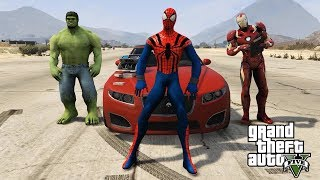Spiderman Super Cars Test Drive with Hulk   Hulk and Ironman as Salesman   Spiderman car shopping