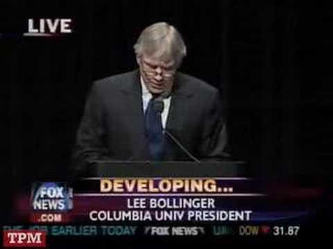 Columbia President Bollinger Introduces Ahmadinejad