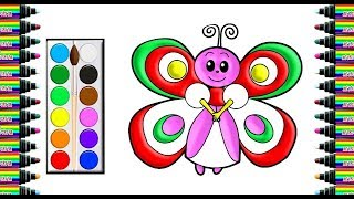 How to draw a butterfly in animation   Drawing and coloring for Kids   bé yêu