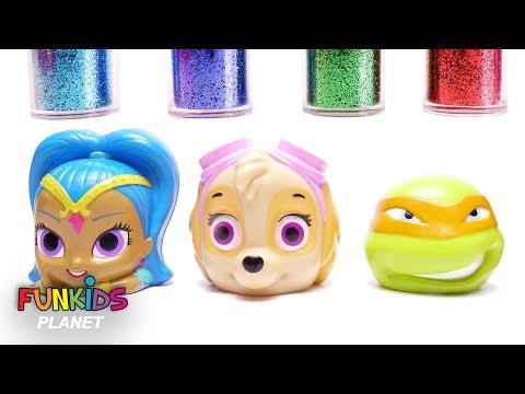 Learn Colors for Kids: Paw Patrol, Ninja Turtles, Shimmer & Shine Glitter Dirty Mess Bath time