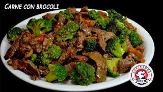 Carne con Brocoli.  Rica comida China