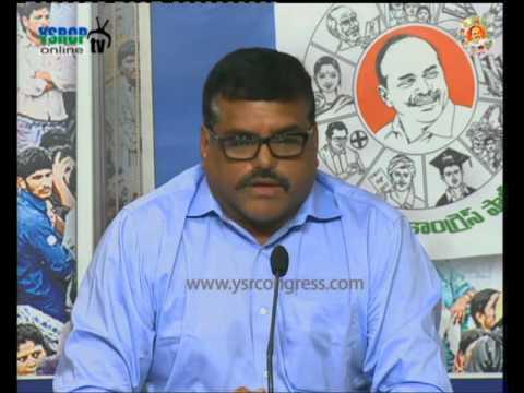 YSRCP leader Botsa addressing to media on Bauxite mining permission - 11th Dec 2015