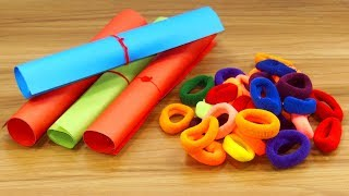 DIY Hair rubber bands & color paper craft idea | DIY art and craft | DIY HOME DECO