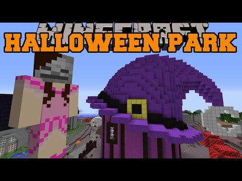 Minecraft: HALLOWEEN PARK (Witchs House Ghost Train & Mask Shop) [1]