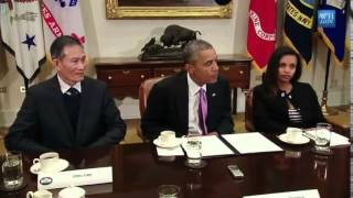 President Obama meets Journalists Simegnish 'Lily' Mengesha and Nguyen Van Hai
