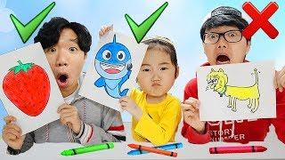핑크퐁 물감으로 그림 대결 놀이 해봤어요! 과연 롯데 미술대회 승자는 누가 될까요?! Pinkfong Paints Toy Learn colors