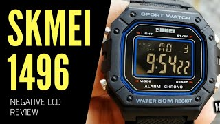 SKMEI 1496 FULL BLACK NEGATIVE DISPLAY HOMAGE WATCH REVIEW SETUP