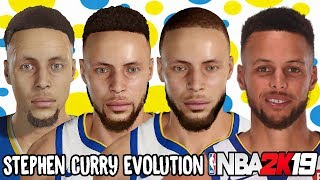 Stephen Curry Ratings and Face Evolution (College Hoops 2K7 - NBA 2K19)