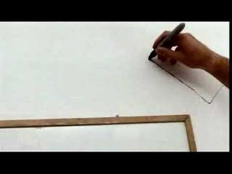 完成が気になる!! 一筆書きの絵を壁いっぱいに描く男性