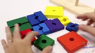 Bộ xếp chồng tháp 3 cọc đồ chơi gỗ giáo dục