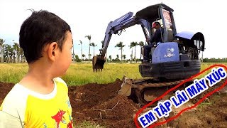 Excavator Digging Dirt, Truck, Bulldozer: Kids Learn to Drive Excavator