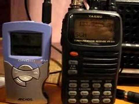 Yaesu VR500 radio scanner, Archos MP3 player and Rockbox