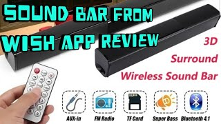 Bluetooth sound bar from wish review and unboxing