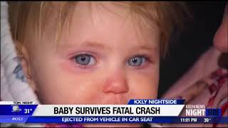 Baby survives fatal crash, ejected in car seat