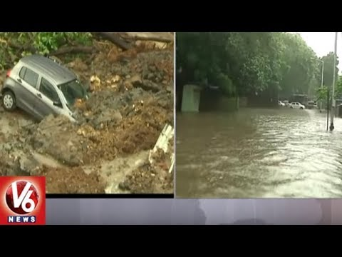 Heavy Rains Lash Mumbai City | Local Trains Running Late, Traffic Jam | V6 News