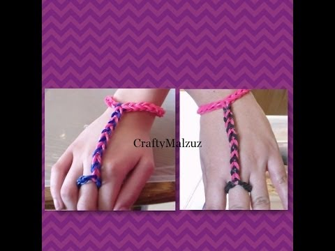 Pulsera De Gomitas  Anillo con Pulsera/ How to make the finger bracelet with rubber bands