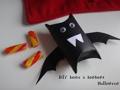 tuto diy halloween boite bonbons chauve souris rouleau carton youtube. Black Bedroom Furniture Sets. Home Design Ideas