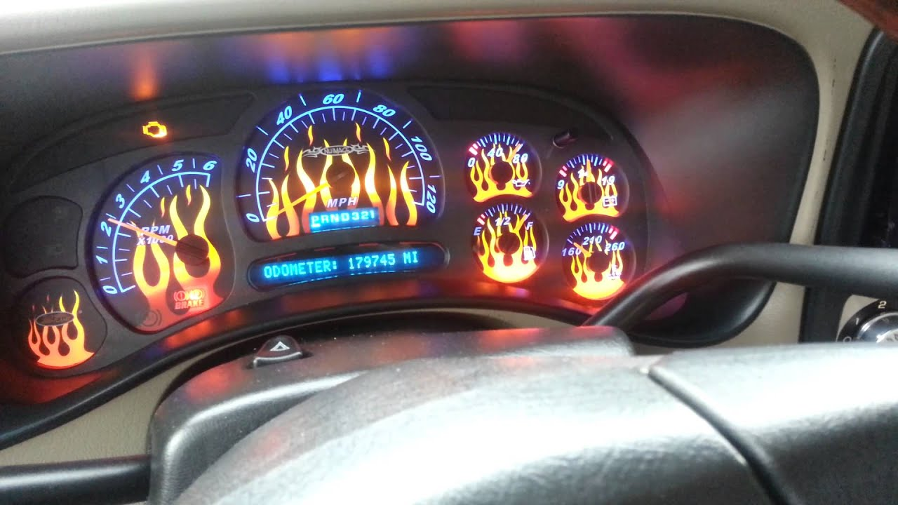 Chevrolet Silverado Flame Gauge Face Amp Led Youtube