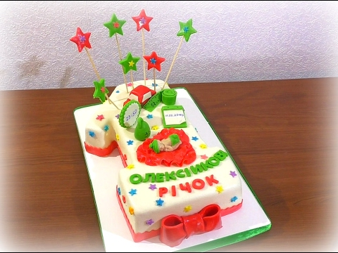 Торт цифра 1 из мастики Как сделать торт цифру один МК