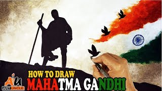 HOW TO DRAW MAHATMA GANDHI EASY STEP BY STEP FOR KIDS   2nd OCTOBER GANDHI JAYANTI SPECIAL