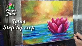 Zen Lotus - Step by Step Acrylic Painting on Canvas for Beginners