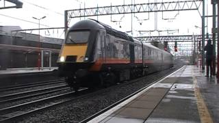 Grand Central 43423 'Valenta 1972-2011' and 43468 pass through Crewe on 5Z43