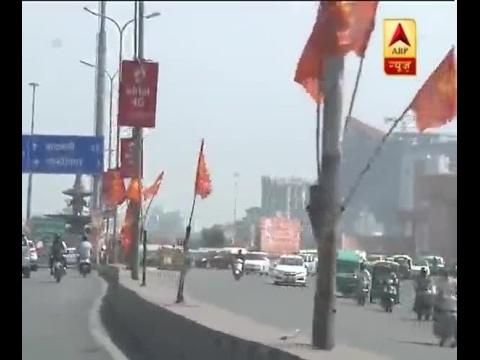 Hindu Yuva Vahini flags decorating Lucknow roads soon after Adityanath becomes CM