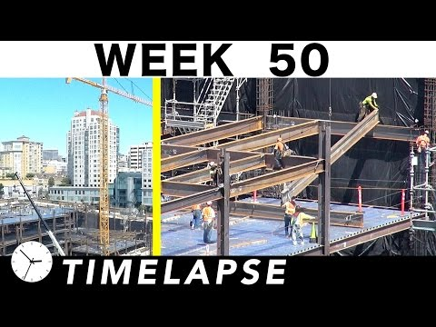 One-week construction time-lapse w/over 37 closeups: Week 50: Ironworkers; welders; cranes; more