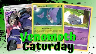 Venomoth Caturday Bench Snipe Budget Build Unbroken Bonds Deck, PTCGO Gameplay