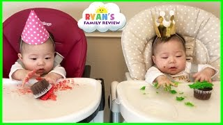 Twin Babies Half Birthday Celebration and Presents Opening Morning! Ryan