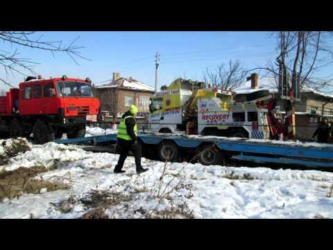 Евакуация на Татра 815 8х8 и 60т платформа 27.01.2016