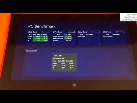 Nokia Lumia 2520 Benchmark: PC Benchmark, nCore CPU Mark, MetroBench, SunSpider, Relative Benchmark