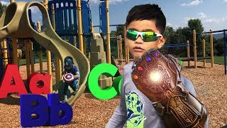 Pretend Play AVENGERS Thanos Infinity Gauntlet, Learning ABC Letter Alphabets part 1/2