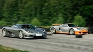 Porsche Carrera GT vs Koenigsegg CCR Evolution x 2 Races to 200 mph / 320 km/h