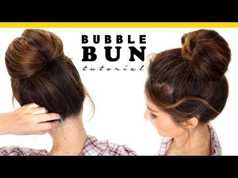 2 Minute BUBBLE BUN Hairstyle | Easy Hairstyles for Medium Long Hair