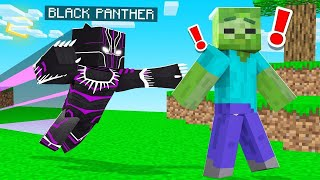 Playing MINECRAFT As The BLACK PANTHER! (super strong)