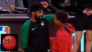 Celtics & Raptors warm up before game