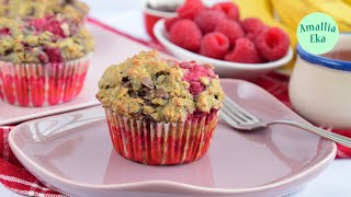 Raspberry Banana Chocolate Muffins. Gluten Free Recipe l By Amallia Eka