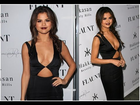 Selena Gomez Wears Sexy Black Dress With No Bra